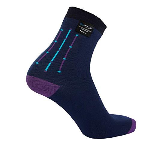 (DexShell Waterproof Ultraflex Socks, Navy Jacquard, Ankle, M)