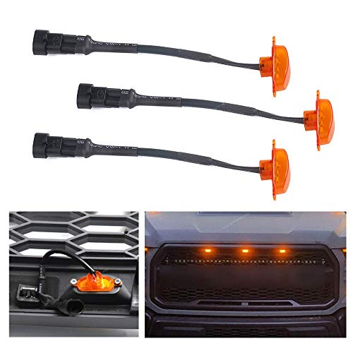 MotorFansClub 3PCS Amber LED Grille Running Lamps, Front Bumper Hood Grille LED Light for 2004-2014 & 2014-up Ford F150/F250 Raptor (Grille Not Included)