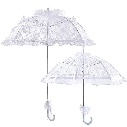 2Pcs Rose Lace Parasol Wedding Bridal Party Decor Photograph Prop Bride Umbrella by LONGBLE