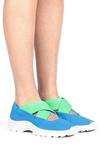 Jeffrey Campbell Daimler Blue Green Neoprene Combo Criss Cross Slip On Sneakers (10)