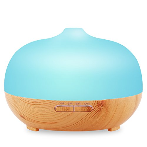 URPOWER Wood Grain Cool Mist Humidifier Frosted Glass Ultrasonic Aromatherapy Essential Oil Diffuser with 7 Color Lights (300 ml) (Glass Vaporizer compare prices)