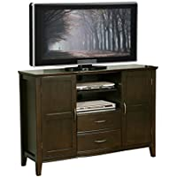 Simpli Home Williamsburg Tall TV Media Stand for TVs up to 60, Dark Walnut Brown