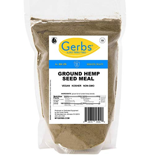 Ground Hemp Seed Meal, 1 LB Bag - Top 14 Food Allergy Safe & Non GMO -Vegan & Kosher - Full Oil Content Protein Powdr