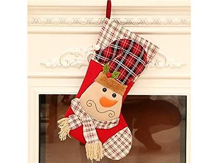 JxucTo Feliz Calcetines de Navidad de Tela Bolsa de Dulces Bolsa de Regalo Adornos de árbol