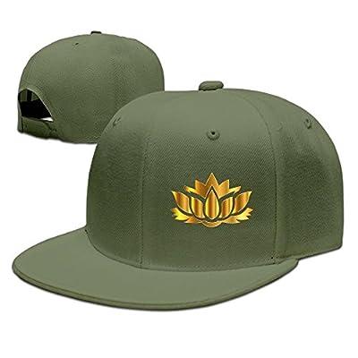 Gold Flower Art Solid Flat Bill Hip Hop Snapback Baseball Cap Unisex sunbonnet Hat.