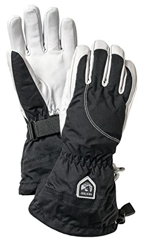 Hestra Womens Extra Warm Ski Gloves: Heli Leather Winter Cold Weather Powder Gloves, Black/Off White, 7