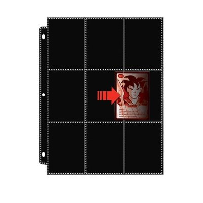 2 Trading Card Binder - 18-Pocket Platinum Side Load Page with Black Background