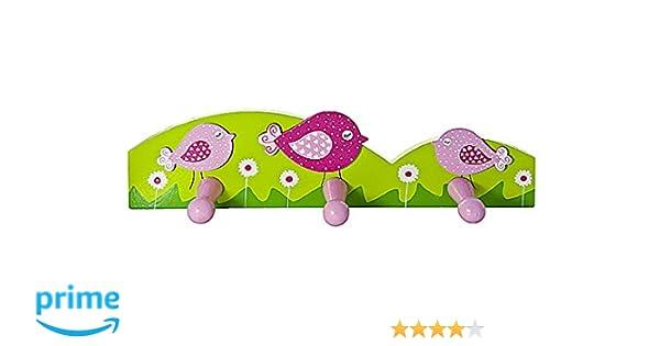Triple gancho perchero de pared para la ropa en tonos rosas y decorado con pájaros para la habitación de las niñas