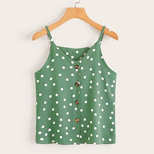 Chaleco de Mujer Camiseta Sin Mangas Impresión de Lunares Botón de ...
