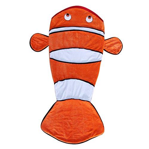 Evernew Crystal Cashmere Cartoon clown fish Sleeping Bag Blanket Children's Day Gifts for kids (Orange)