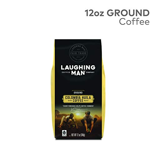 Laughing Man Colombia Huila, Ground Coffee, Fair Trade Certified, Dark Roast, Bagged 12oz.