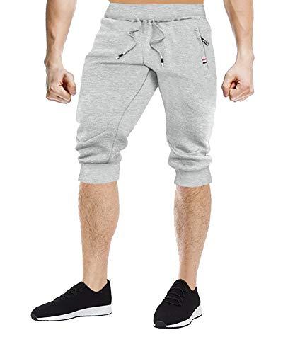 Gosuban Knee Length Shorts Running Shorts Men 3/4 Pants with 3 Pockets(Gray, - Length 3/4 Men Shorts Pants