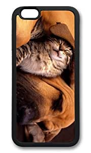 MOKSHOP Adorable cat and dog cuddle Soft Case Protective Shell Cell Phone Cover For Apple Iphone 6 (4.7 Inch) - TPU Black
