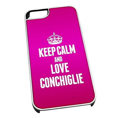 Bianco cover per iPhone 5/5S 0988 Pink Keep Calm and Love conchiglie