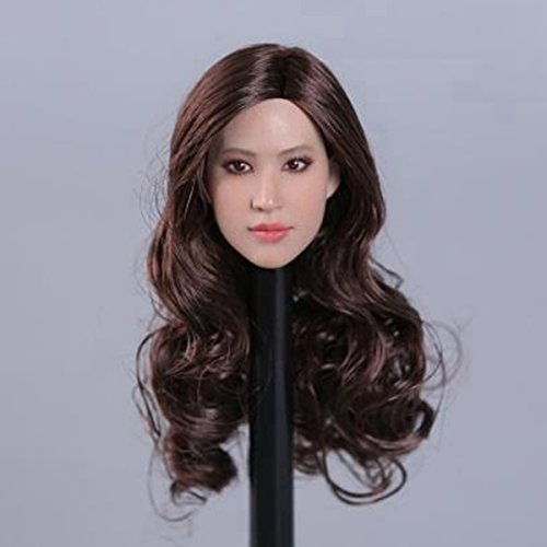 Scale Head (Asia Woman Planted Hair Head Movie Star Eurpon Female Carving Action Figure 1/6 Scale Head Sculpt)
