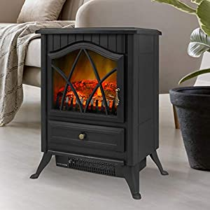 Electric Fireplace FreeStanding Heater,2 Heat Modes -3D Flame Effect- Overheating Safety Protection 1500W Ultra Strong…