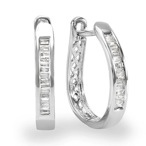 Dazzlingrock Collection 0.20 Carat (ctw) 10K Baguette Cut Diamond Ladies Hoop Earrings 1/5 CT, White Gold ()