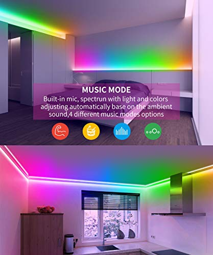 Smart LED Strip Lights, MINGER Dream Color Changing Light Strip Music Sync with Brighter 5050 LEDs and Strong Adhesive Tape, Works with Controller and Phone App Waterproof for Indoor Outdoor, 32.8ft by MINGER (Image #5)