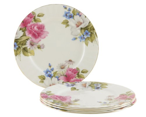 (Gracie Bone China 7-1/2-Inch Dessert Plate, Pink Grace's Rose, Set of 4)