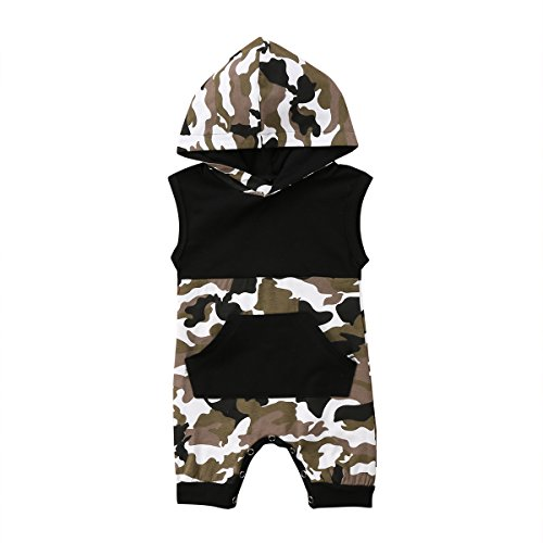 Newborn Kids Baby Boys Cute Solid Color Long Sleeve Hooded Romper Jumpsuit Top Outfits Clothes (12-18 Months, Hooded Camo)