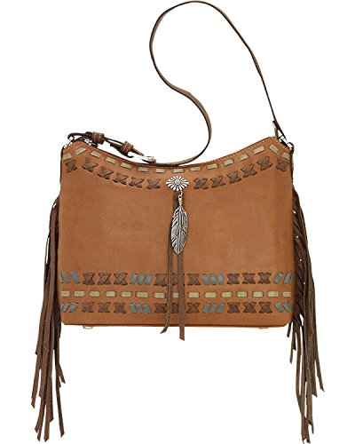 American West Women's Mohican Melody Collection Shoulder Bag Tan One (American West Leather Handbag)