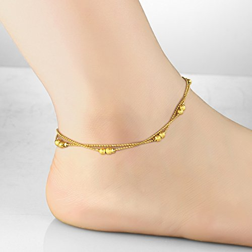 ankle anklet gold real cable puffed chain bracelet p s yellow adjustable bullet heart