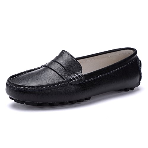 SUNROLAN 818-2hei10 Casual Women's Genuine Leather Penny Loafers Driving Moccasins Slip-On Boat Flats Shoes US10