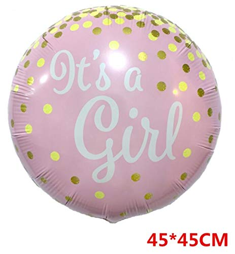 1Pcs Baby Shower Boy Girl Birthday Party Decor Its A Boy/Girl Foil Balloons Pink Sky Blue Polka Dot Bow Decorative Air Balls Big E]()