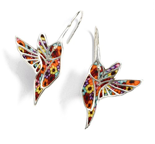 925 Sterling Silver Hummingbird Dangle Earrings Handmade Multi-Colored Polymer Clay Bird Jewelry