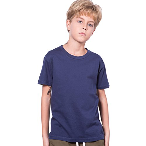Navy Blue T Shirt,Boys Cotton Navy Blue Shirts Kids Tshirt T-Shirt Short Sleeve Clothes Children Solid Color Top Tee Crewneck Youth La T Shirts Clothing,8/9 Years Old ()