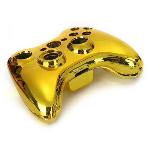 (SODIAL(R)Gold Chrome Full Housing Shell Case Cover for Xbox 360 Wireless Controller)