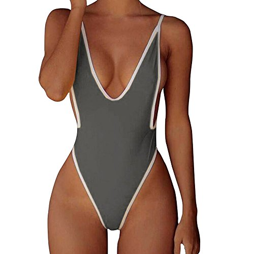 CROSS1946 Sexy Womens Monokini Deep V One Piece Backless Cheeky Swimwear Semi Thong Bikini M Grey