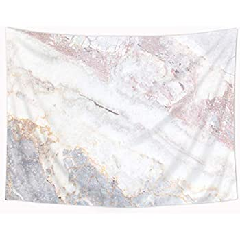 Riyidecor Marble Tapestry Wall Hanging Pink White Gray 51x59 Inch Crack Stone Textured Authentic Nature Elegance Bedroom Living Room Dorm
