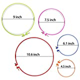 Similane 5 Pieces Embroidery Hoops, Plastic Circle Cross Stitch Hoop Ring 4.5 inch to 10.6 inch (Multicolor) for Embroidery and Cross Stitch