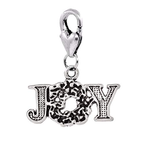 Joy Wreath Christmas Holiday Word Lobster Clip On Dangle Charm for Bracelets Crafting Key Chain Bracelet Necklace Jewelry Accessories Pendants