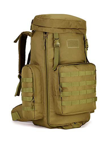 (Tactical Travel Backpack MOLLE Rucksack-70L-85L Waterproof Camouflage Suitcase Hunting Mountain Sports Trekking Camping (tan))