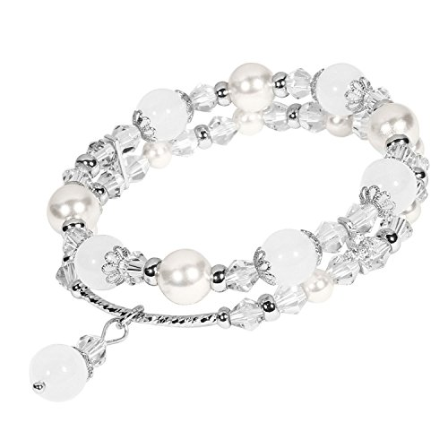 Beaded Bracelet Handmade Faux Pearl Crystal Natural Stone Elastic Chain Rhinestone Charm Bracelets Hair Rope Decoration for Women Teen Girls Perfect Valentine Gift Packaging (White & Double Row)