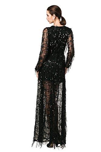 Pailletten Ausschnitt V Maxi Kleid Damen missord Zwei Polyester Schwarz Langärmelige Split qU4xp