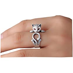 SUNSCSC Antique Silver Vintage Handmade Pug Dog Cat Animal Rings for Women (Cat)