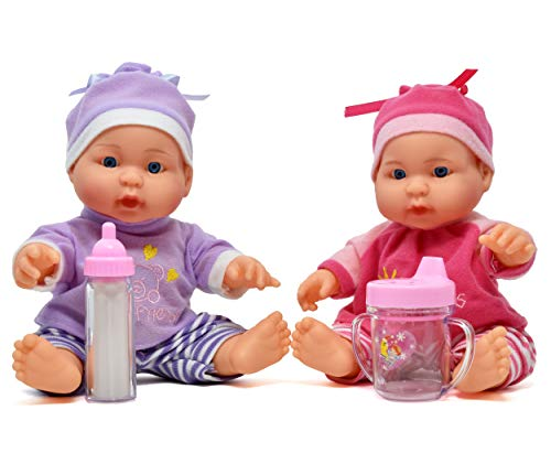 Sweet Baby Twins - Twin Baby Dolls, 9 Inch Twin Dolls All Vinyl with Baby Bottle and Sippy Cup Included