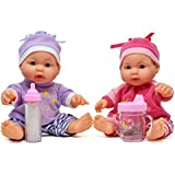 Little Princess Baby Twin Dolls, 9 Inch With Adorable Outfit Super Cute Twin Dolls, Baby Bottle and Sippy Cup Included
