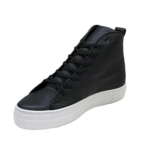 Scarpe uomo sneakers alta nero punta bianca vera pelle fondo alto comodo comfort