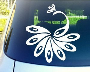 "Peacock Bird 6"" White Vinyl Decal Sticker for Car Automobile Window Wall Laptop Notebook Etc.... Any Smooth Surface Such As Windows Bumpers"