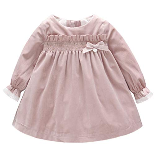 Kanodan Warm Baby Toddler Girl Princess Dress Velvet Ruffle Dress with Bowknot 0-18M (Pink, 9-12Months) ()