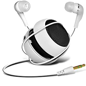 Alcatel One Touch Star 6010D Mini Cápsula Viajes recargable Loud 3.5mm Altavoz Bass Jack Para Jack Input & In Ear Auriculares (Blanco) Por Fone-Case