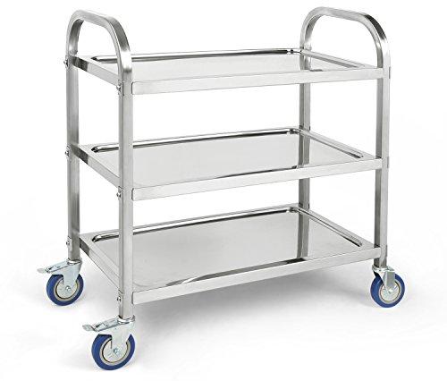 Stainless Steel 3-Tier Kitchen Trolley Kitchen Cart