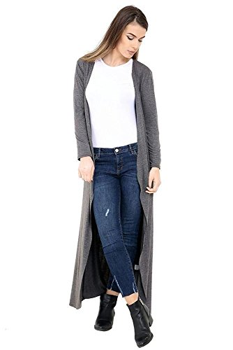 Charcoal Coprispalle Aperto Donna Basic Generic cardigan Lunga xYn8qvzYwd
