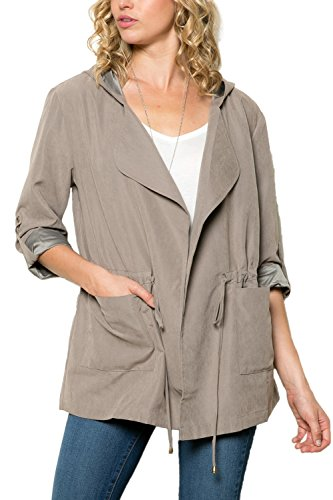 My Yuccie Microsuede Anorak Hooded Jacket with Drawstring Taupe Large