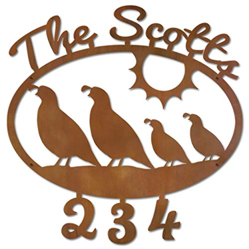Cold Nose Creations 22in Oval Steel Address Name and Numbers Sign - Southwest Decor Gambel's Quail Family - Rust Metal Finish - Made in USA