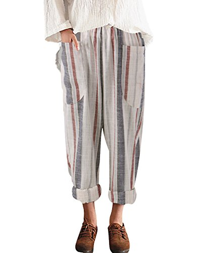(BBYES Women's Casual Cotton Linen High Waisted Harem Pants Loose Trousers with Pockets Striped L)